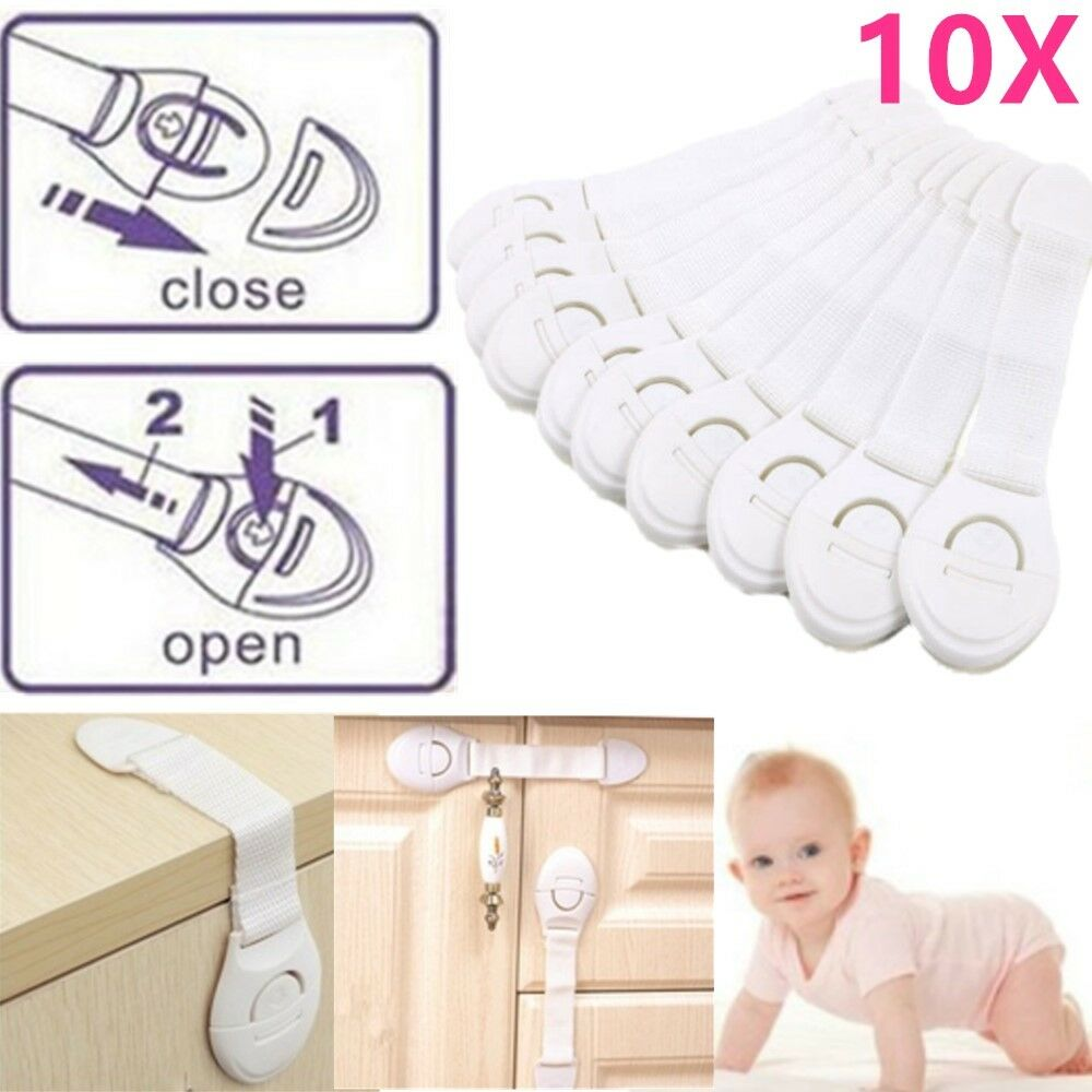 10 Pcs Child Infant Baby Kids Drawer Door Cabinet Cupboard Toddler Safety Locks 4