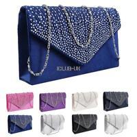 Women Evening Bag Satin Bridal Diamante Ladies Clutch Envelope Handbag Wedding