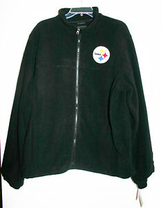 best website 4db0a 403bf Details about NFL Mens XL Pittsburgh Steelers Black Fleece Jacket With Logo  Full Zip Front NWT