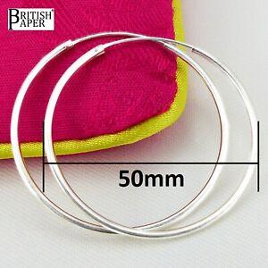 COPPIA-50mm-Solid-925-Argento-Sterling-Orecchini-A-CERCHIO-Sleeper-Naso-Clip-Anello-a-Perno-su