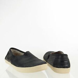 Toms Avalon Men s Shoes Black Leather Slip On Loafer Sneakers Size ... 096c17a4a1