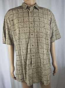 Orvis-Men-039-s-Short-Sleeve-African-Print-Shirt-Size-XL