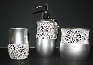 New 3 Pc Set Silver Resinglass Mosaic Soap Dispensertoothbrush
