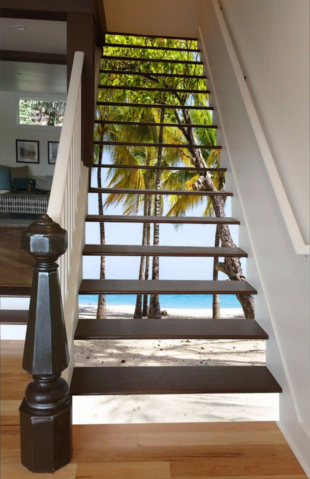 3D Beach Trees 015 Stairs Risers Decoration Photo Mural Vinyl Decal Wallpaper US