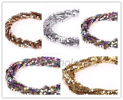 Hematite Gemstone Square Cube Beads Metallic Silver Gold Copper Multicolor