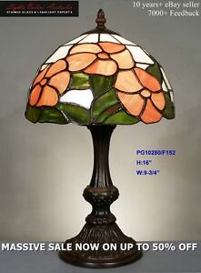 PAINTED-GLASS-LEADLIGHT-FLORAL-LOUNGE-TABLE-LAMP-NIGHT-LIGHT