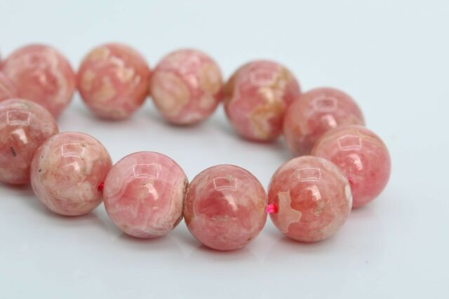 14MM ARGENTINA RHODOCHROSITE GEMSTONE PINK RED FLAT ROUND LOOSE BEADS 15.5/""