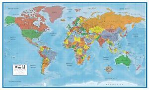 Paper Folded 24x36 World and USA Classic Premier 3D Two Wall Map Set