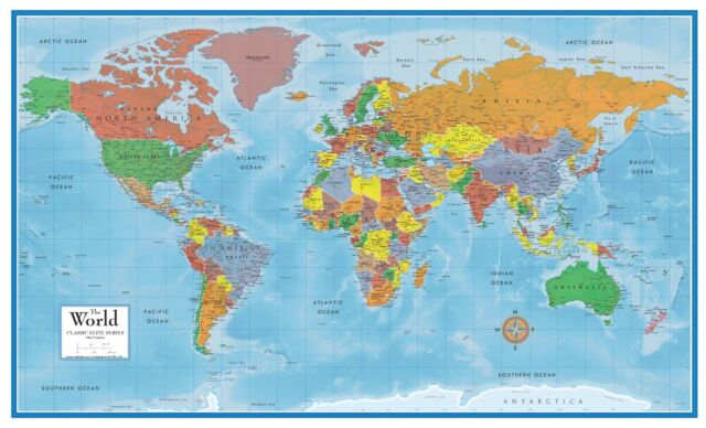 world map classic huge large laminated wall  poster