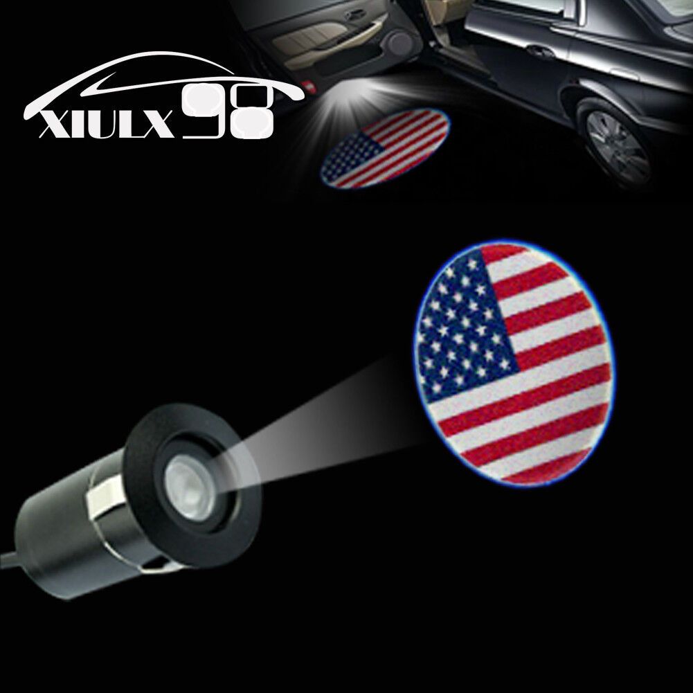 2 Pieces The American National Flag Wireless Car Door Logo Light American Flag LED Car Door Courtesy Welcome Projector Light Ghost Shadow Lights Compatible with All Car Models