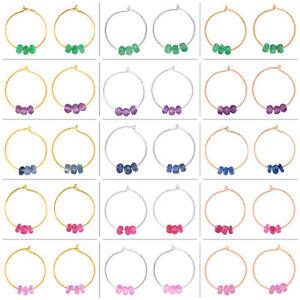 Natural-Gemstone-Beads-Huggies-Earrings-18k-Solid-Gold-Hoop-Earrings-For-Women-039-s
