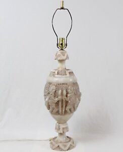 Stone De 24lb sorprendentesAlabastro Lámpara urna Vintage mostrar Romano Soldado Mesa título acerca original Detalles de Onyx Tallado oedWrCBx