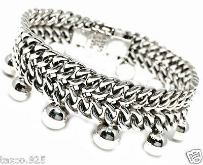 TAXCO MEXICAN 925 STERLING SILVER CHAIN LINK BEADED BEAD BRACELET MEXICO
