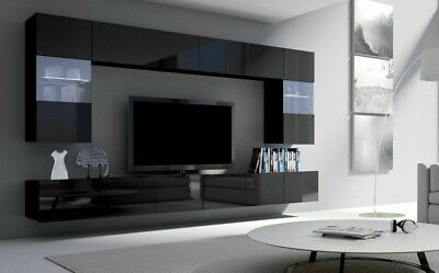 MODERN WALL UNIT LIVING ROOM SET WALL MOUNTED CABINET TV ...