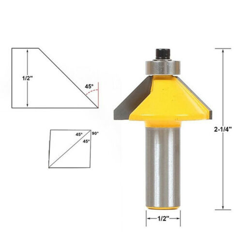 Carbide Tipped 45 Degree Chamfer Router Bit 1//2/'/' Shank Fits Flooring,Tables