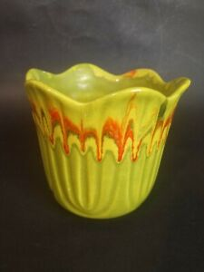 Scalloped Edge Green and Red Drip Glaze Pottery Planter  USA 1066