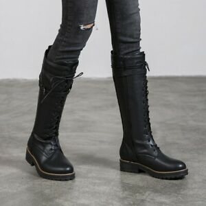 Womens Military Combat Knee High Boots Lace Up Buckle Block Heels Punk Zip Shoes