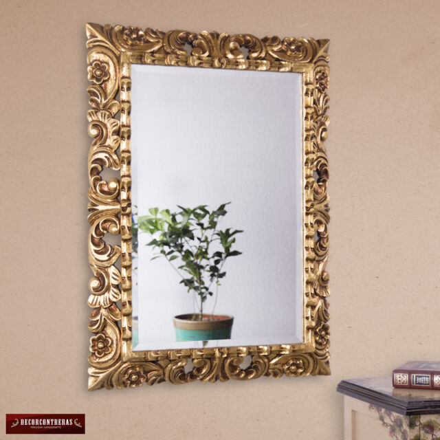 Hand Carved Ornate Gold Leaf Mirror Large Wall Art
