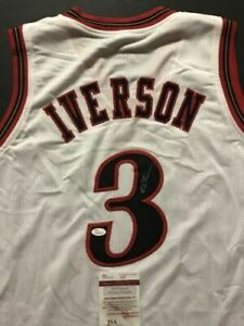 0079bfdaec2 Image is loading Autographed-Signed-ALLEN-IVERSON-Philadelphia-White -Modern-Jersey-