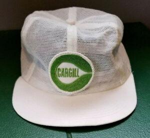 f42119d4dee Vtg CARGILL Patch Trucker Hat White Mesh Farm Cap Snapback USA K ...
