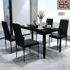 Vidaxl Contemporary Dining Set With Table And 4 Chairs Black Ebay