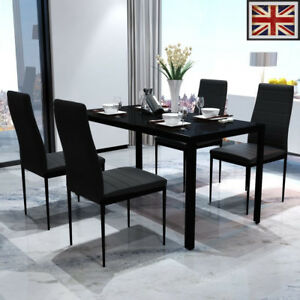 Contemporary-Dining-Set-with-Table-and-4-Chairs-Black-Kitchen-Furniture-UK