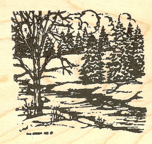 Small Tree /& Stream Winter Spruce Wood Mounted Rubber Stamp NORTHWOODS CC9354