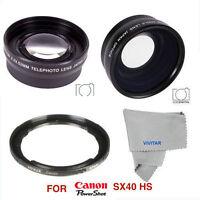 Hd Fisheye Lens + Macro Lens +2x Telephoto Zoom Lens For Canon Powershot Sx40 Hs