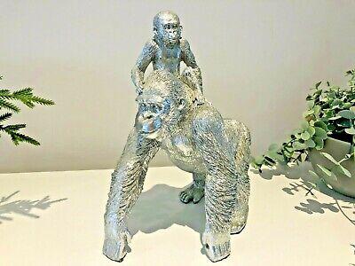 Silver Bead Diamante Gorilla Display Statue Figurine Sparkling Gem-Like Stones
