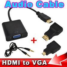 HDMI to VGA with Audio Cable Micro Mini HDMI Male Adapter to VGA Female 1080p