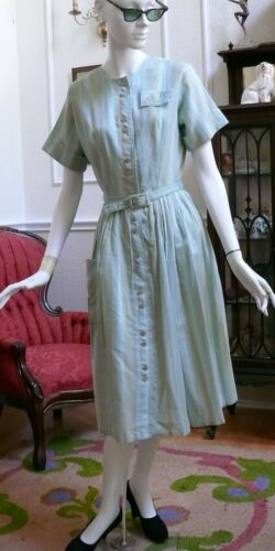 1950`s Sweet Cotton Striped  Afternoon or Day dres