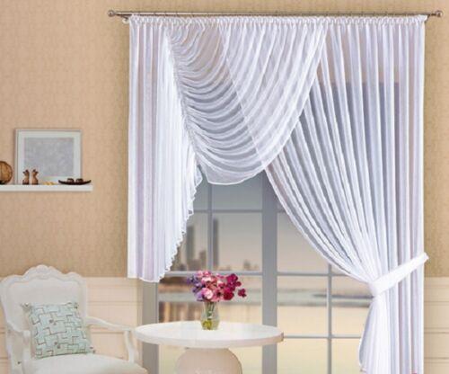 Weiß Lang /& Kurz Voile Knittern Netzvorhang Startseite-Fenster Dekoration