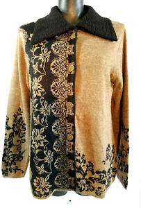 Caamano-100-Alpaca-Cardigan-Sweater-Women-039-s-Medium-Button-Up-Collar-Brown-Black