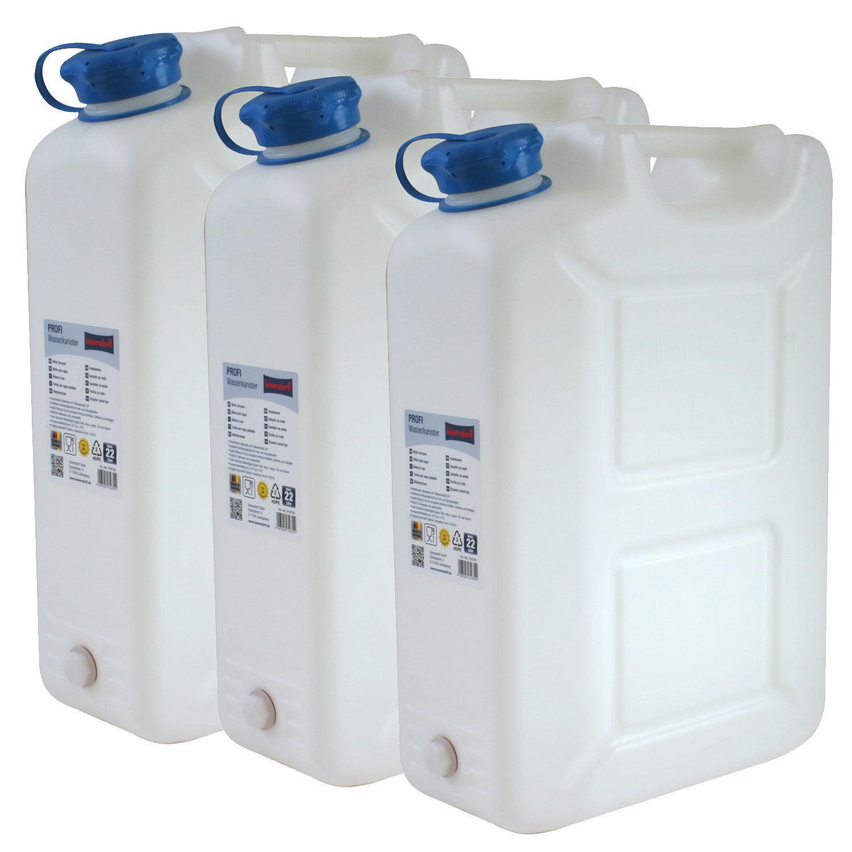 3x Wasserkanister PROFI 22 Liter mit Hahn NEU Trinkwasser-Kanister 2er Set 22L