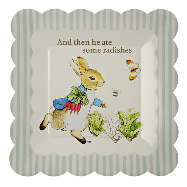 PETER RABBIT PAPER PLATES, BABY SHOWER / 1st BIRTHDAY PARTY - PACK OF 12, SMALL