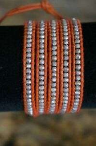 NEW-Chan-Luu-Men-Women-Silver-Nugget-Orange-Leather-5-Wrap-Bracelet