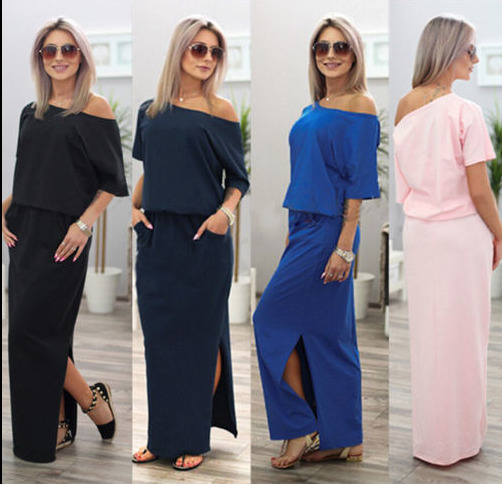 NEW Womens One Shoulder Summer Split Long Maxi Ladies Party Beach Casual Dress