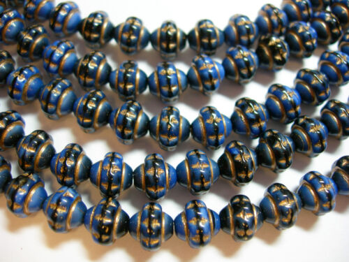 31 6x7mm Czech Glass Blue Silk with Gold Saturn Saucer Beads