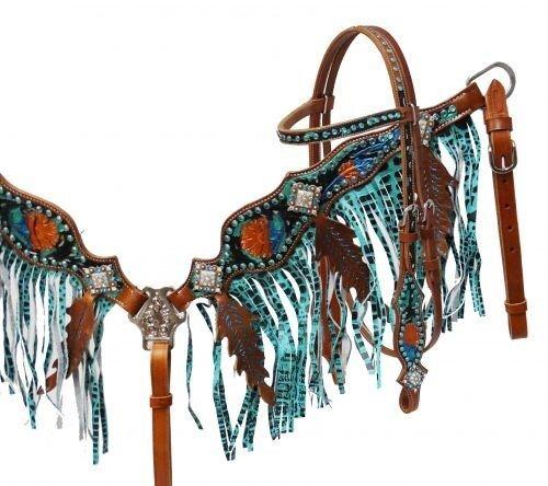 Showman Cuero Brida & pecho collar conjunto con Pintado  Tooling y verde brillante flecos  nuevo  tomar hasta un 70% de descuento
