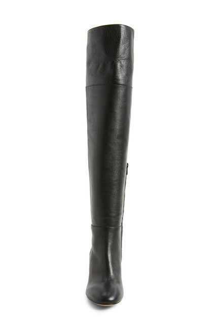 LEWIT Renata Black Leather Cuff Over the Knee Boots Block Heel NEW 38.5 EU 395