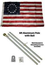2x3 2'x3' Historical Betsy Ross Flag Aluminum Pole Kit Gold Ball Top