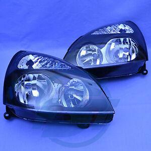 2x-Scheinwerfer-Renault-Clio-2-links-rechts-ab-2001-Facelift-Set-schwarz