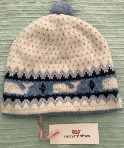 NWT VINEYARD VINES Girls Ivory /& Blue Fairisle Winter Wool PomPom Hat One Size