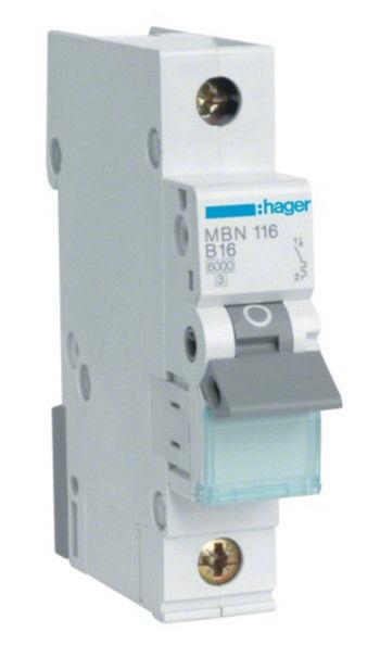 Hager MBN116 Leitungsschutzschalter B16A 6kA 1-polig 230/400V B-Charakter