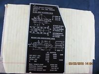 Hmmwv M1113 Nameplate / Dimensions Label Military Issue Highly Collectable [off]