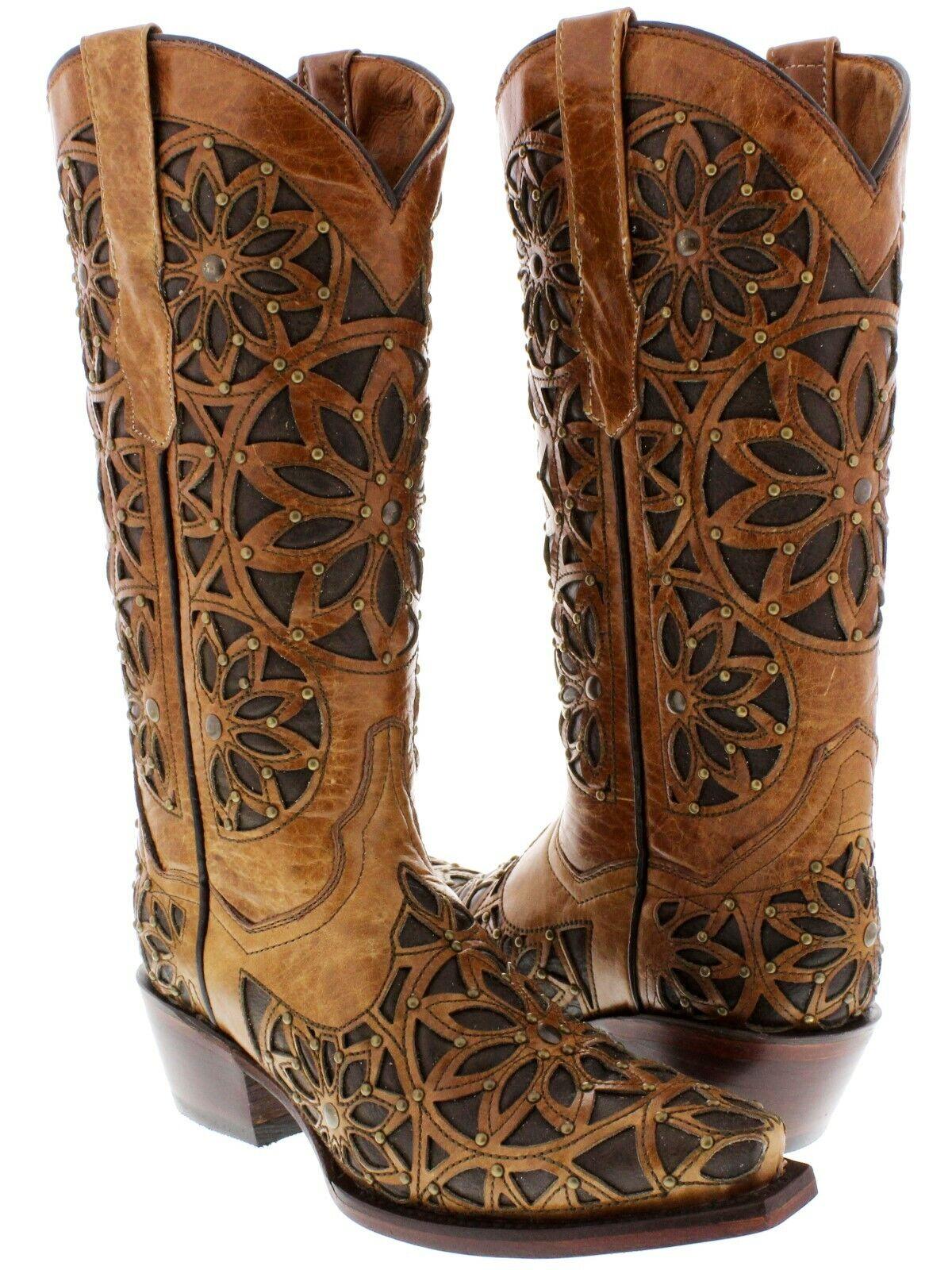 Senza tasse donna Light Marrone Inlay Design Western Studded Studded Studded Leather Cowgirl stivali Snip Toe  lo stile classico