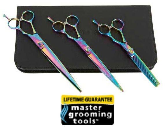 Master Grooming Tools RAINBOW 3pc SET CURVED,STRAIGHT&THINNING Pet SHEAR SCISSOR