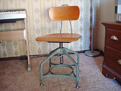 Toledo UHL Steampunk Steel Maple Industrial Swivel Student Drafting Chair Stool