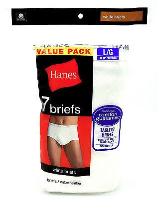 8 Hanes White Briefs  Large L 36-38 Inch Tagless Comfort Flex Waistband 90-95 CM