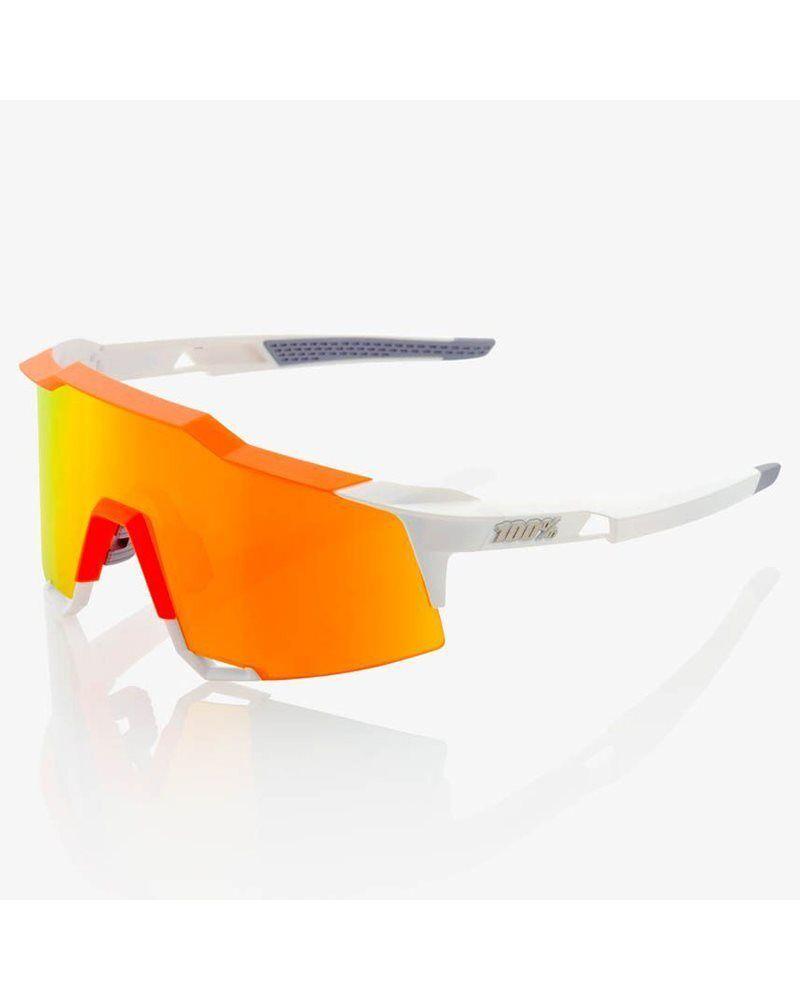100% Glasses SpeedCraft White Neon orange - HiPER Red Multilayer Mirrorr + Lens